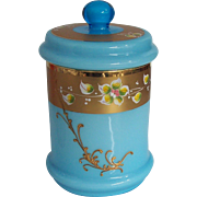 Murano  Blue Opaline Gilded Enamelled Covered Jar Italian Glass