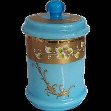 Murano  Blue Opaline Gilded Enamelled Covered Jar Italian Glass