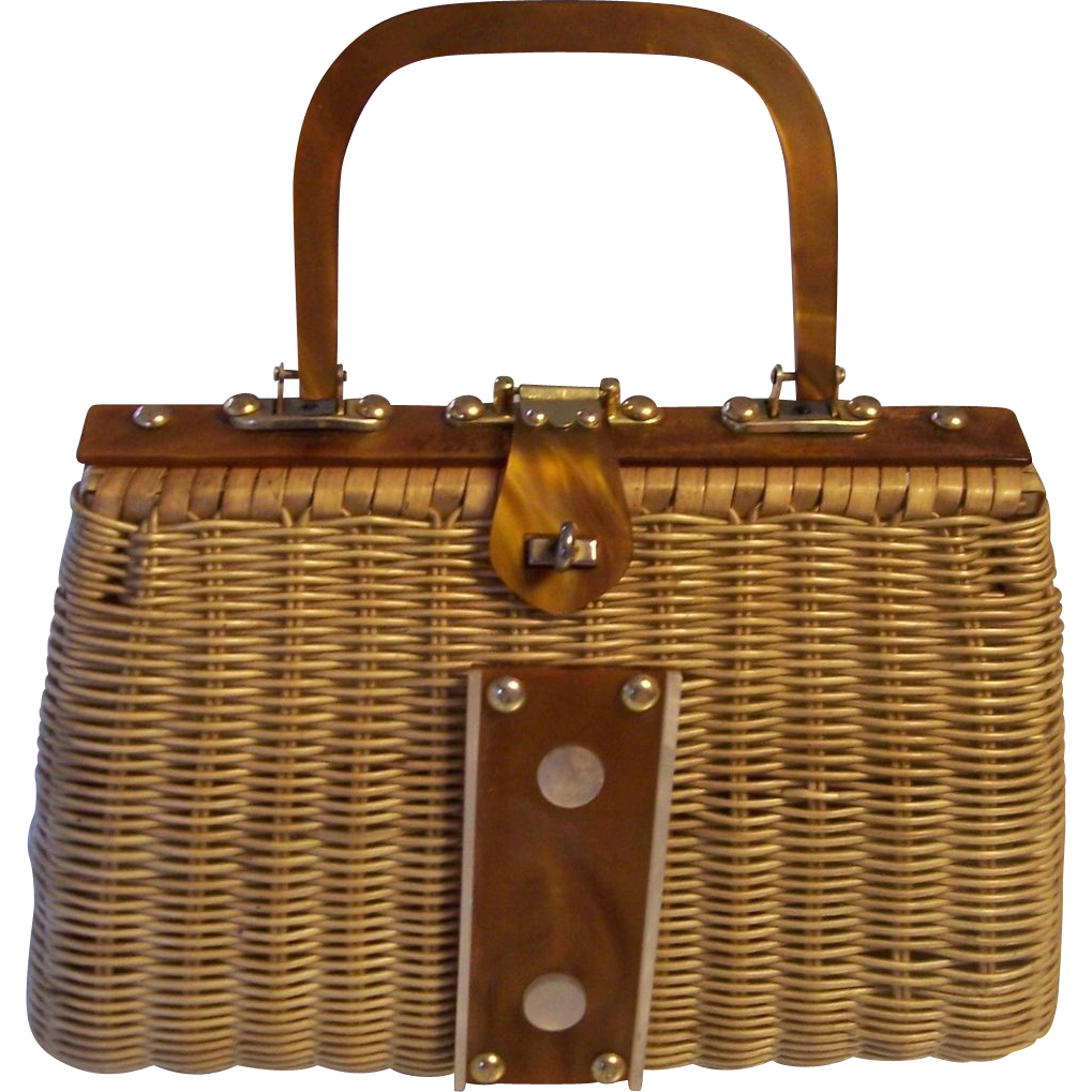 Wonderful Vintage Wicker With Caramel And White Lucite