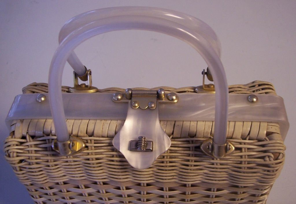 Vintage Stylecraft Wicker And White Pearlized Lucite
