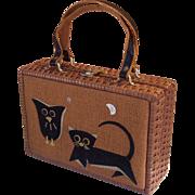Owl & Black Cat Handbag Gaymode Hong Kong Burlap and Wicker Halloween