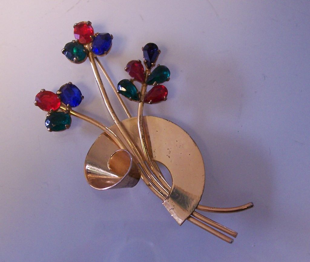 Coro Sterling Retro Vermeil Swirl Flower Pin