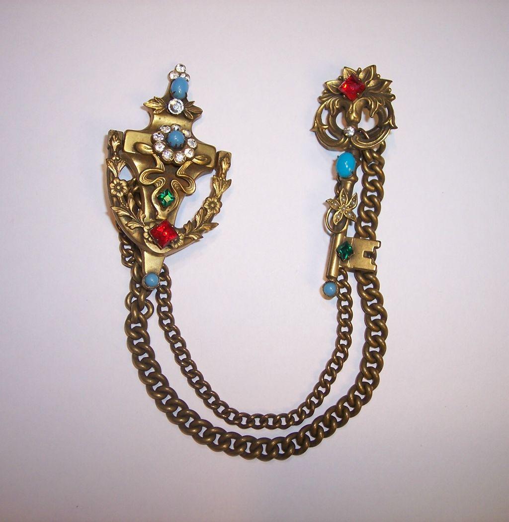 Coro Door Knocker & Key Chatelaine Double Brooch