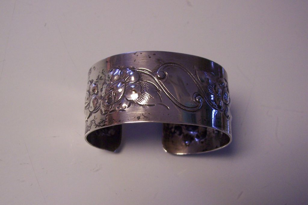 Sterling Silver Wide Floral Cuff Bracelet Repousse & Engraved