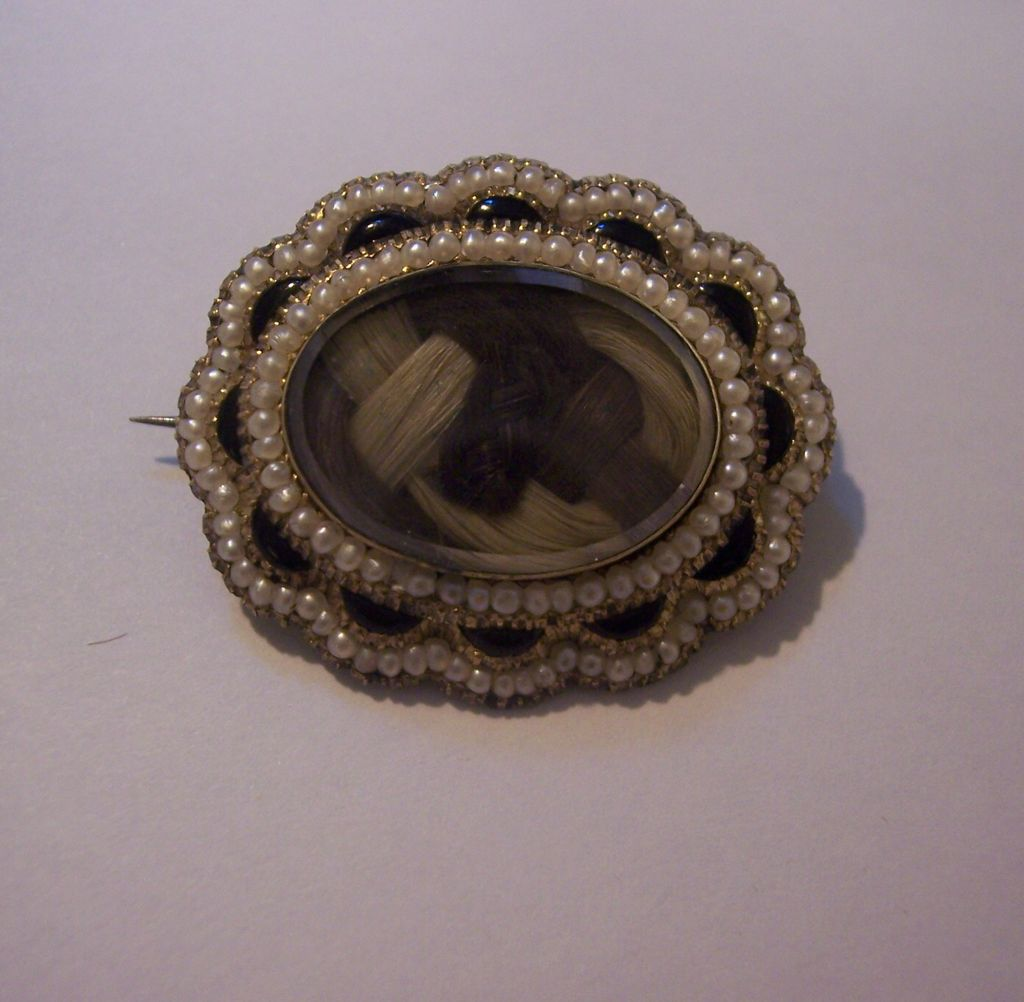 Antique 12K Gold Hair Memorial Brooch Pin with Pearls - 1861