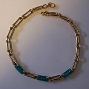Vintage Grosse Germany Necklace Green Lucite & Goldtone Links Grosse Germany