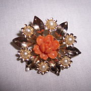 Vintage Coro Faux Coral and Pearl Brooch Pin