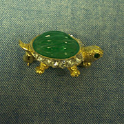 Carolee Turtle Jelly Belly & Rhinestone Brooch