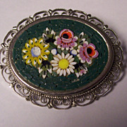 Italian Mosaic Silver Tone Brooch