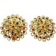 Bold Vintage Tara Rhinestone Earrings Gold tone Pr