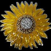 Cheerful Sunflower Enamel & Rhinestone Brooch Gold tone