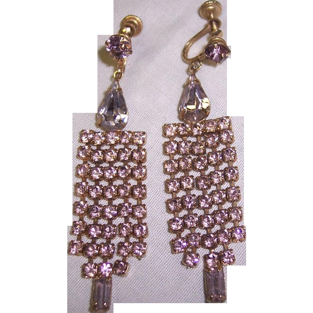 dangling lavender rhinestone chandelier earrings from