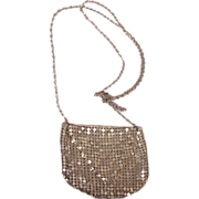 Vintage Mesh Purse Necklace Silver Tone