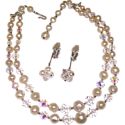 Laguna Necklace & Lewis Segal Earrings Faux Pearl & Crystal