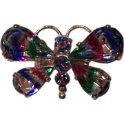 Old Iris Rainbow Butterfly Brooch C-Clasp