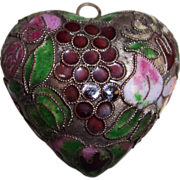 Large Enamel Cloisonne Puffy Heart Pendant