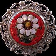 Micro Mosaic Silver tone Filigree Brooch Italy