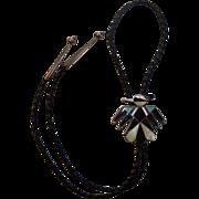 Zuni Thunderbird Inlaid Bolo Tie Sterling Silver