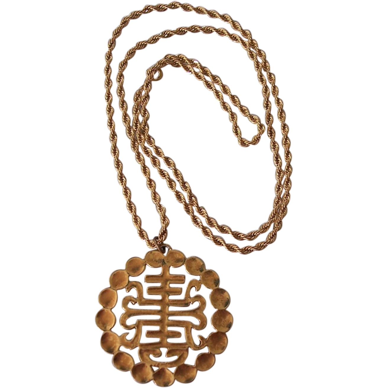 asian inspired alva gold tone pendant necklace from