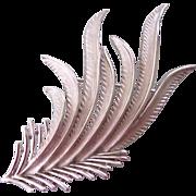 Trifari Silver tone Feathery Leaf Brooch