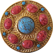 Vintage Faux Coral & Turquoise Gold tone Brooch
