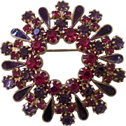 Vintage Faux Ruby, Amethyst & Enamel Brooch