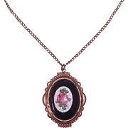 Vintage Necklace with Enamel Rose on Black Pendant in Coppery Gold tone