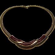 unsigned Napier Burgundy Enamel & Gold Tone Necklace