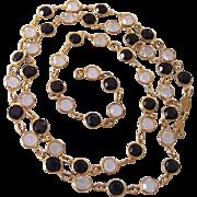 Signed Austrian Crystal Bezel Set Necklace
