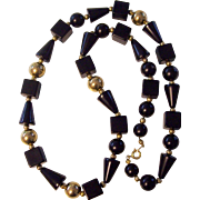 Wonderful Trifari Black Lucite Plastic & Gold Balls Necklace