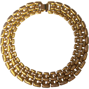Napier Textured & Smooth Wide Necklace Gold tone