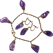 Gold Filled Amethyst Type Charm Bracelet & Earrings Set