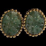 Vintage Jomaz Jade Glass Earrings