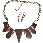 Modernist Gold tone Shapes Necklace & Earrings Set