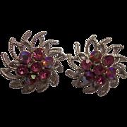 Beautiful Coro Pink Aurora Borealis Silver tone Earrings