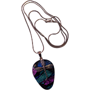 Dichroic Glass w/ Sterling Dragonfly Pendant Necklace