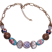 Chunky Chinoiserie Bead Necklace Asian Theme