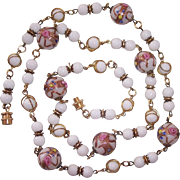 "Gorgeous Italian Wedding Cake Beads 35"" Long Necklace"