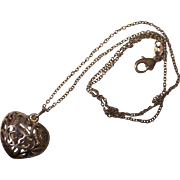 Sterling Silver Open Work Puffy Heart Pendant Necklace