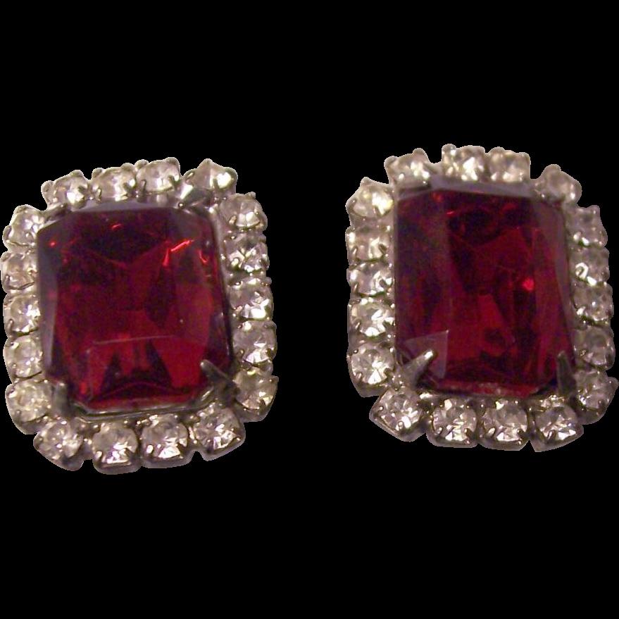 elegant faux ruby diamond costume earrings from. Black Bedroom Furniture Sets. Home Design Ideas