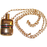 Gucci Italy Perfume Bottle Pendant Necklace