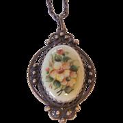 Russian Finift Floral Enamel Pendant Necklace Silver tone Filigree
