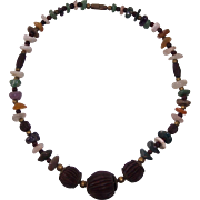 Wonderful Polished Stone and Carved Wood Bead Necklace