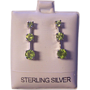 Sterling Silver Peridot 3 Tier Drop Earrings