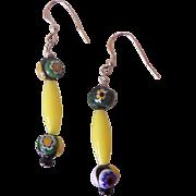 Yellow Italian Millefiore Glass & Plastic Earrings Sterling Wires