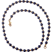 Monet Faux Blue Lapis & Gold tone Bead Necklace