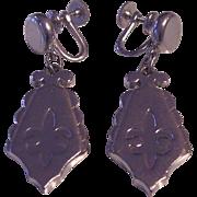 VIntage Signed Sperry Fleur de Lis Earrings Silver tone
