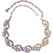 Lisner Rhinestone and Faux Pearl Gold tone Necklace