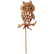 Owl Stick Pin Rhinestones and Enamel Gold tone
