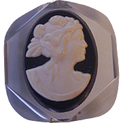 Vintage Lucite and Plastic Cameo Brooch